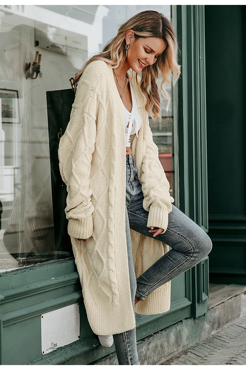 Nostalgia Boho Solid long sweater cardigan women Long sleeve