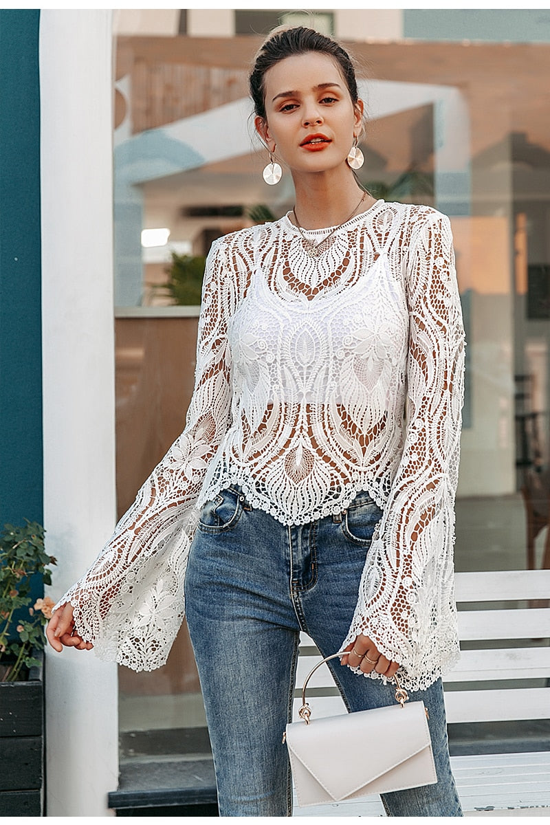 Nostalgia Boho  hollow out lace embroidery women blouse
