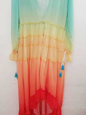 Nostalgia Boho  rainbow V-neck Tiered ruffle trim Summer dress