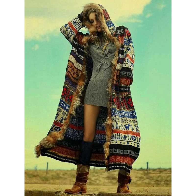 Nostalgia Boho Printed FauxFur Hooded Jacket women winter long cardigan gypsy style