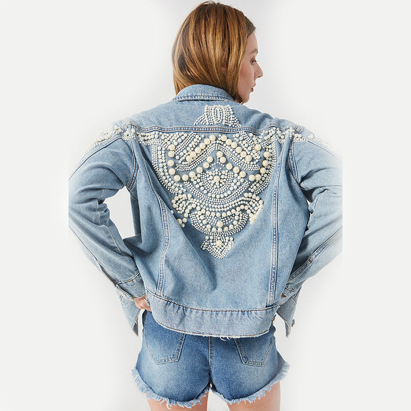 Nostalgia boho  Embroidery Denim Jacket Beading Pattern Jean Jacket Long Sleeve