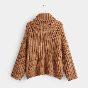 Nostalgia boho  loose pullover  brown turtleneck winter women sweat long sleeve warm sweater