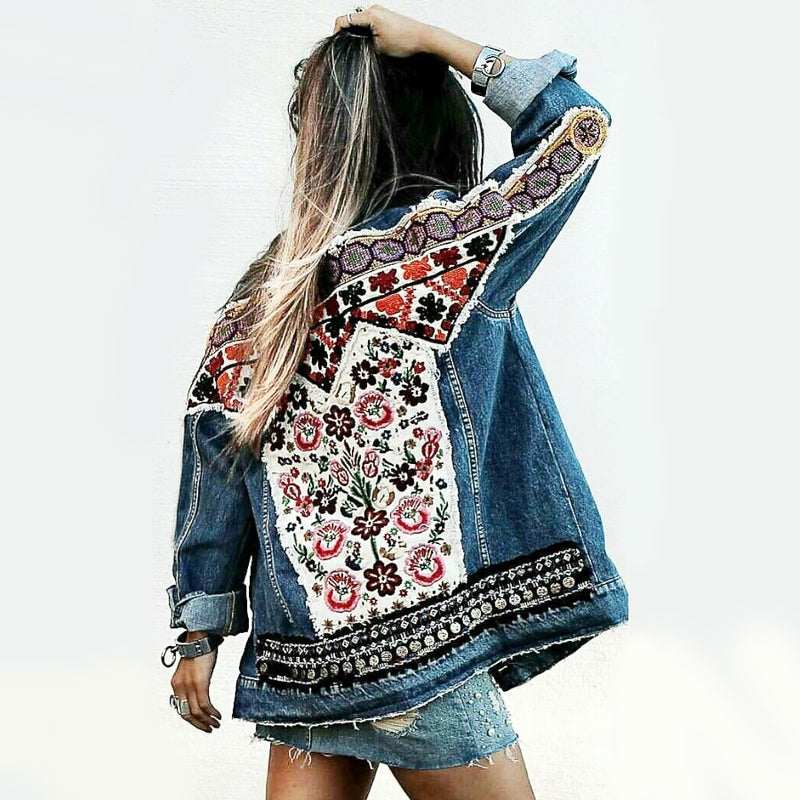 Nostalgia Gypsy Denim jacket vintage floral appliques Embroidery