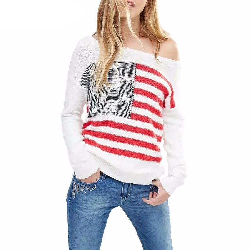 Nostalgia Boho  White Knitted Sweater Pullovers Stars Stripes Flag Off Shoulder Sweaters