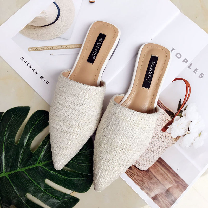 Nostalgia Boho  Slippers Home Linen Flat Womens Shoes Low Pointed