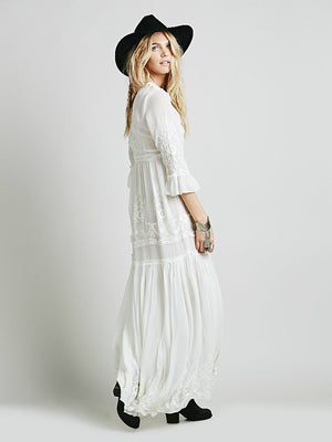 Bohemia embroidery maxi dress - Nostalgiastyles Clothing Store Co.