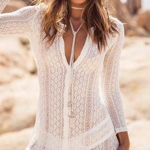 Beach Cover up Lace  Swimwear Beach Kaftan Bikini Wrap Dress Robe - Nostalgiastyles Clothing Store Co.
