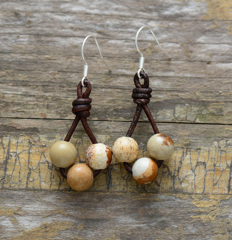 Nostalgia Earrings Natural Stones - Nostalgiastyles Clothing Store Co.