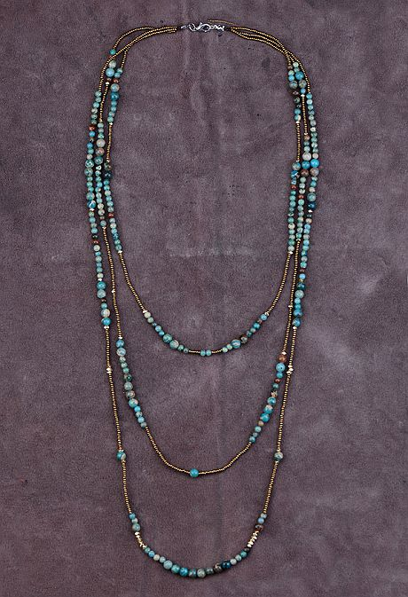 Nostalgia Natural Stones with Seed Beads 3 Layered Beaded Necklace High Fashion Bohemia