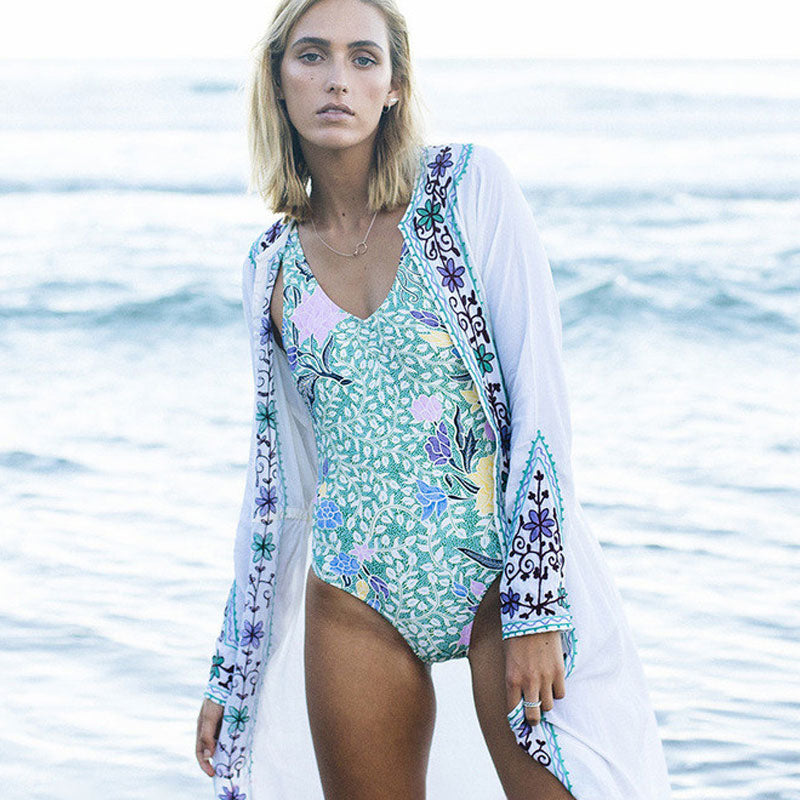 Nostalgia Holiday Beach Long Gypsy Kimono - Nostalgiastyles Clothing Store Co.