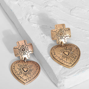 Nostalgia Bohemia Alloy Heart Stud Earrings - Nostalgiastyles Clothing Store Co.