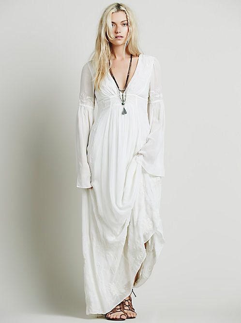 Nostalgia 2018 V-neck embroidery white long maxi dress - Nostalgiastyles Clothing Store Co.