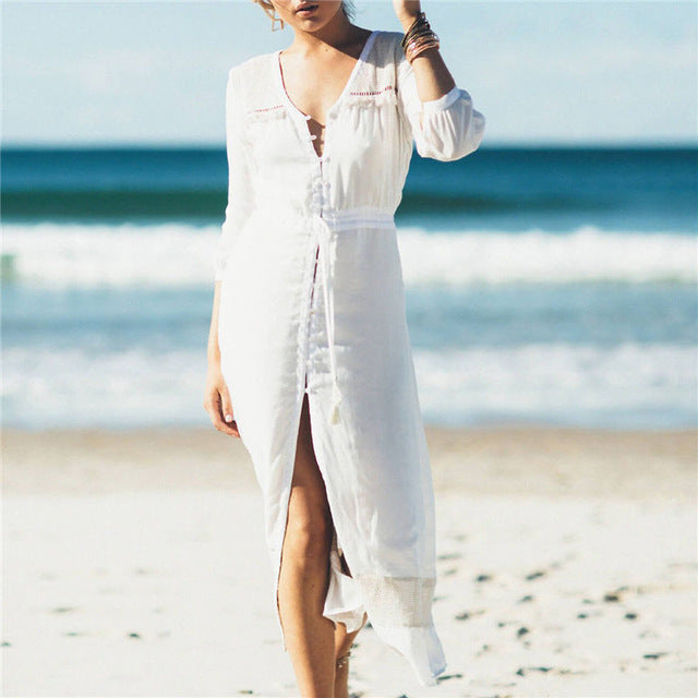 Long Beach Cover up Robe - Nostalgiastyles Clothing Store Co.