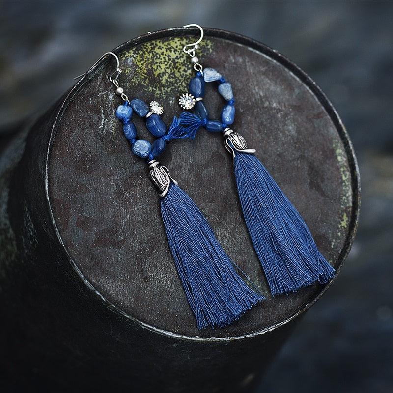 Nostalgia  Blue Brown Tassel Dangle Earrings - Nostalgiastyles Clothing Store Co.