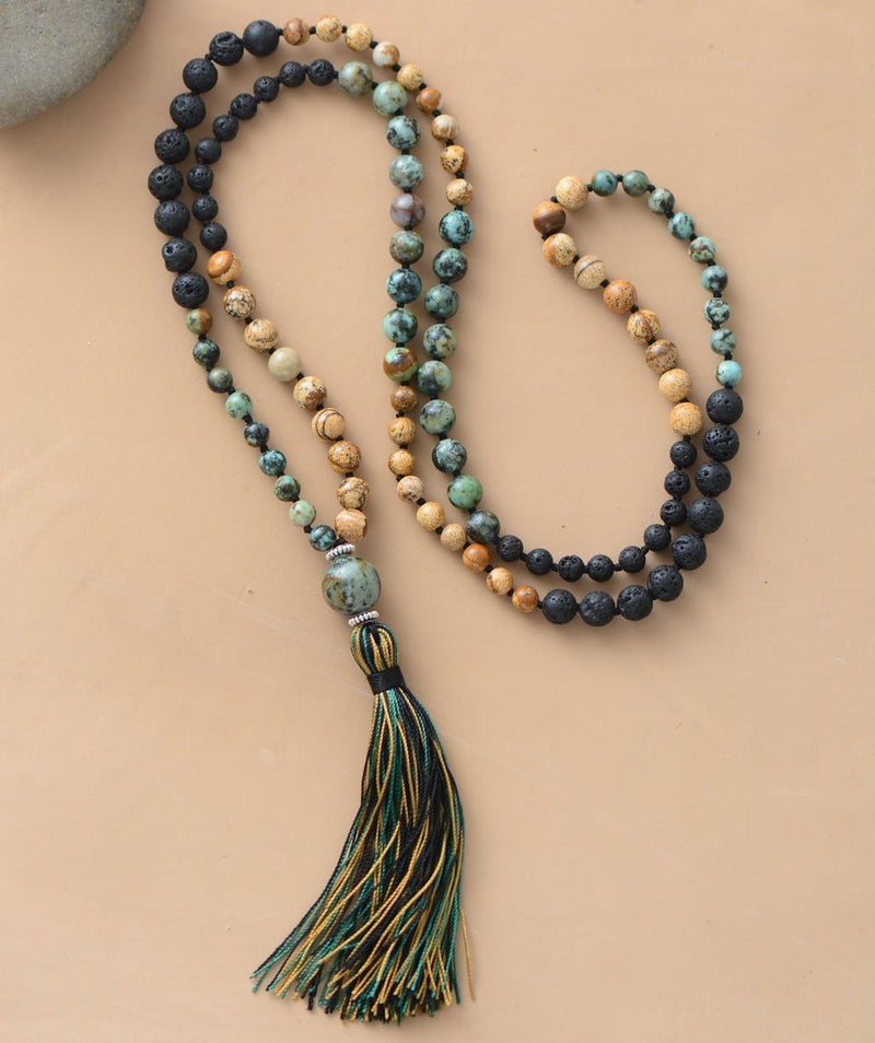 Nostalgia 108 Beads Mala Natural Stone Lava Beads Long Tassel Necklace