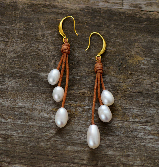 Nostalgia Pearl Earrings Natural Freshwater - Nostalgiastyles Clothing Store Co.