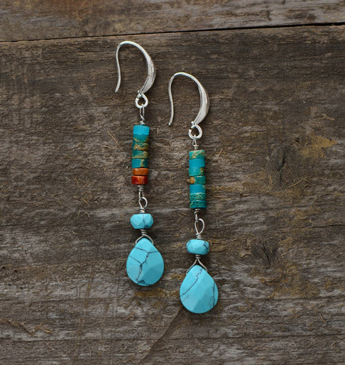 Nostalgia Natural Stones Teardrop Earrings - Nostalgiastyles Clothing Store Co.