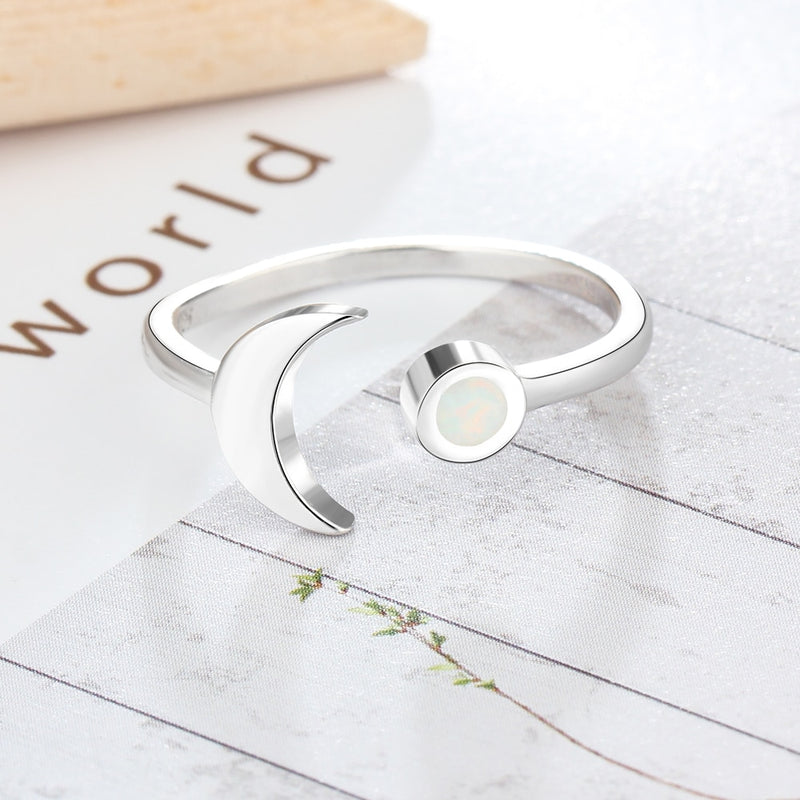 2018 Nostalgia Boho Adjustable Moon Shape White Fire Opal Sterling Silver Rings - Nostalgiastyles Clothing Store Co.
