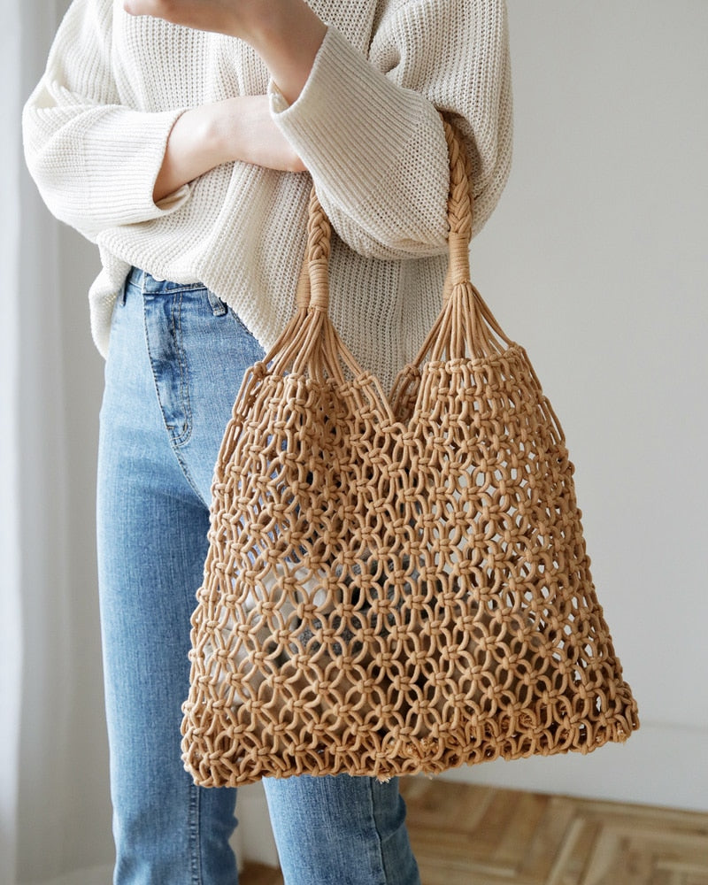 Nostalgia Boho Woven Bag Mesh Rope Weaving Tie Buckle Reticulate