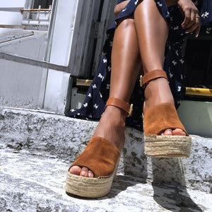 Nostalgia Summer Brown Flock Women Platform Sandals - Nostalgiastyles Clothing Store Co.