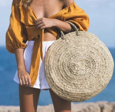 Nostalgia Boho  Plain Color Round Woven Bag Popular Straw Bag Handbags