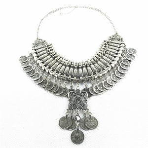 2018 Nostalgia boho  Silver Coin necklace - Nostalgiastyles Clothing Store Co.