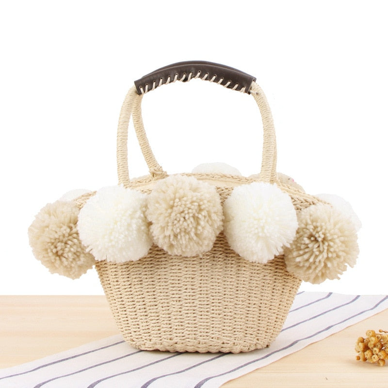 Boho  black White Ball Decoration Straw Bag Women Summer Beach Bag
