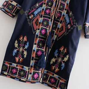 Nostalgia Boho jacket  ethnic embroidery long sleeve jacket navy linen &  cotton Hippie