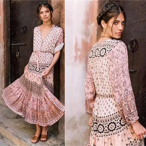 2018 Nostalgia  Boho dress pink - Nostalgiastyles Clothing Store Co.