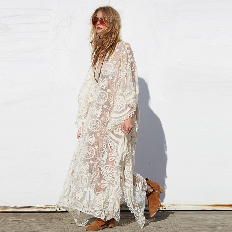 Nostalgia Boho Dress  See Through Lace Long Beach Dress
