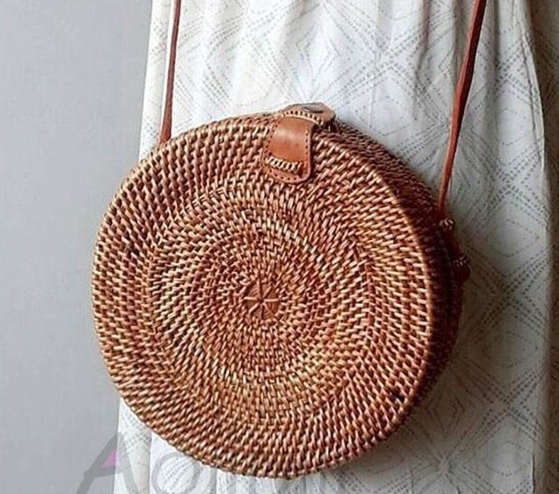 Nostalgia Boho Travel Beach Circle pu Leather Shoulder Bag Summer Straw Bag