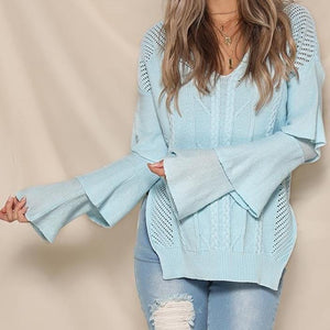 Nostalgia V Neck Tiered Ruffle Long Sleeve Hollow Out Knitted - Nostalgiastyles Clothing Store Co.
