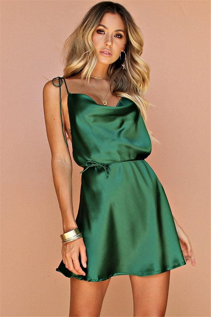 2019 Nostalgia Boho Green Spaghetti Strap Sexy Satin Short Dress - Nostalgiastyles Clothing Store Co.