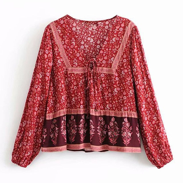 2019 Nostalgia  Boho Hippie Long Sleeve Autumn Shirt Blouse Bell Lace up - Nostalgiastyles Clothing Store Co.