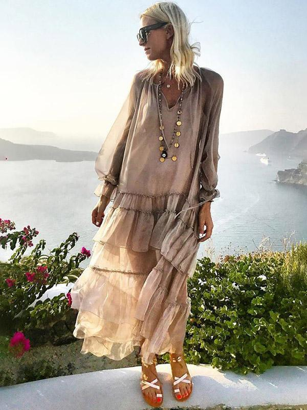 2018 Nostalgia boho Solid Color Falbala V-neck See-Through Maxi Dress - Nostalgiastyles Clothing Store Co.