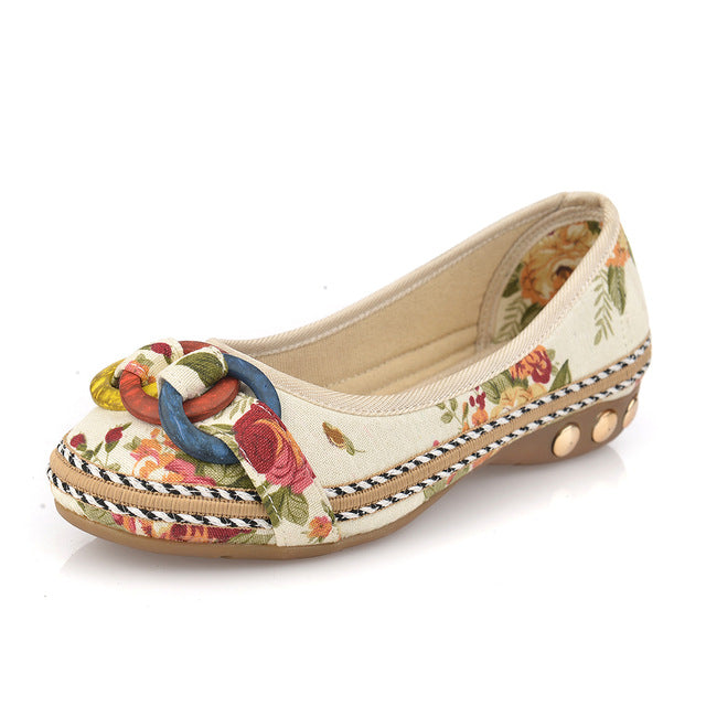 Nostalgia Boho cloth shoes Flats