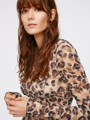 Nostalgia Boho  Leopard Print Backless Lace Irregular Dress