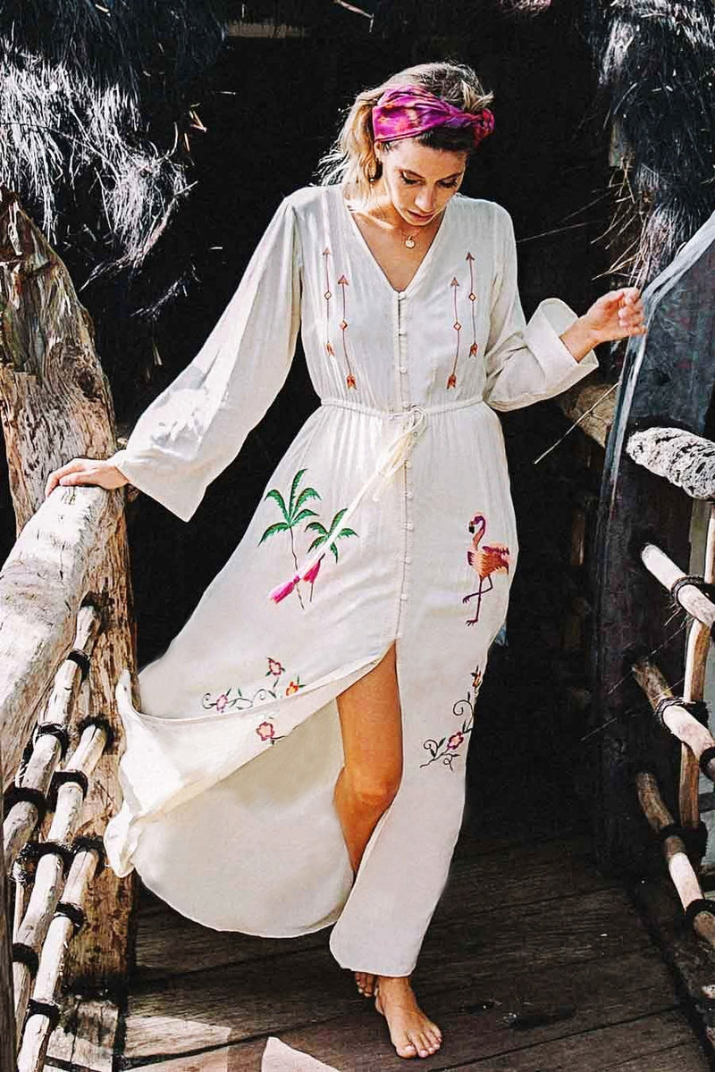 2019 Nostalgia Boho Embroidery Long Sleeve Maxi Dress - Nostalgiastyles Clothing Store Co.
