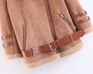 Nostalgia Boho Leather Jackets Faux Suede Winter Coats Thick Solid
