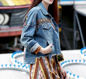 Nostalgia Denim female jacket autumn vintage (ONE SIZE ONLY) - Nostalgiastyles Clothing Store Co.
