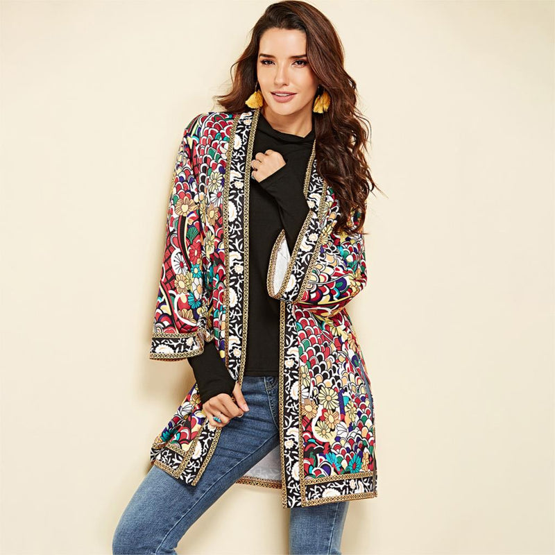 Nostalgia Boho  Ethnic Floral Print Jacket Long Sleeve Side Split Casual