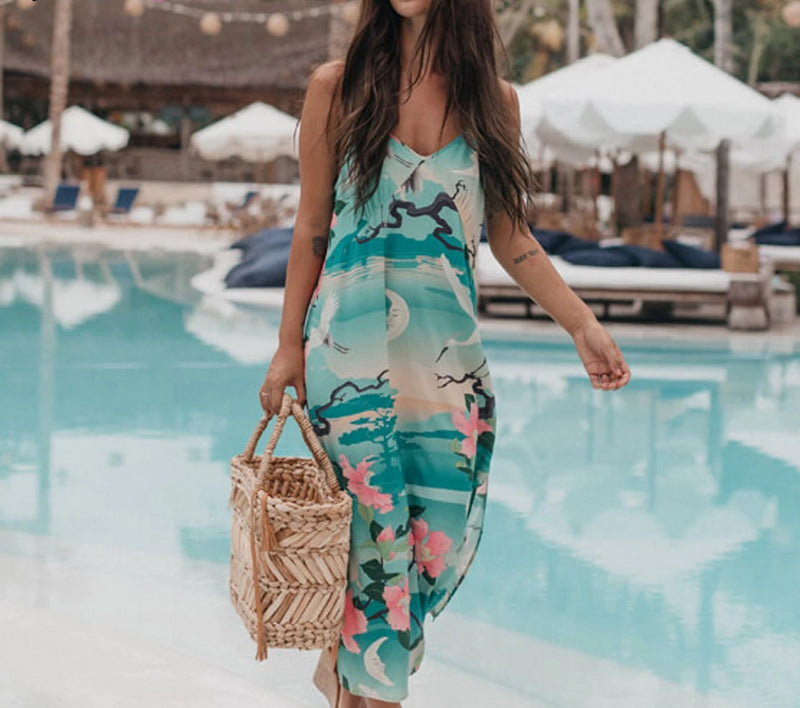Nostalgia Boho Slip Dress Green Floral Print Dresses
