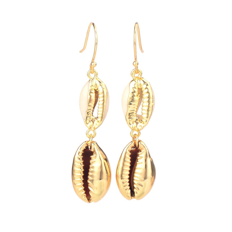 Nostalgia Boho Natural Shell Gold Cowrie Shell Earring Women Cowry Seashell Earrings - Nostalgiastyles Clothing Store Co.