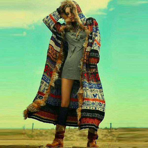 2019 Nostalgia Boho  Winter Long Coats Fake Furs Long Sleeve Runway Bohemian Style - Nostalgiastyles Clothing Store Co.