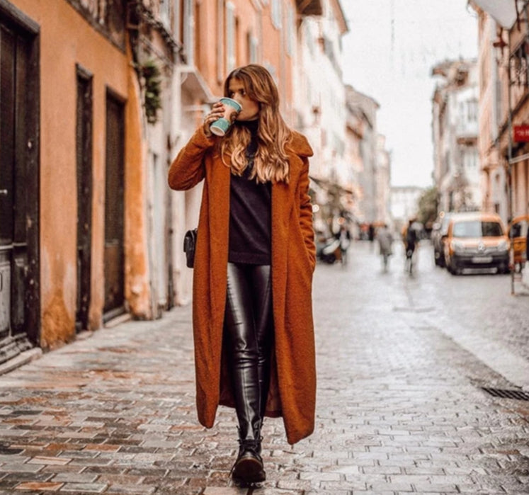 Nostalgia Boho Coffee Solid Pocket Cardigan Long Faux Fur Teddy Coat