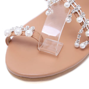 Nostalgia Sandals Women Boho Style Handwork Pearl Shoes