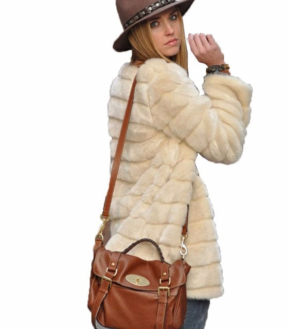Nostalgia Boho  Faux Fur Coat Winter Casual Plus Size Fur Jacket Female Thick Warm Overcoat