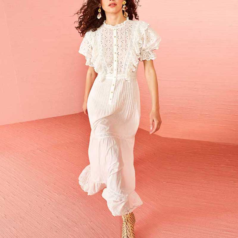 Nostalgia white eyelet women dress ruffle dress