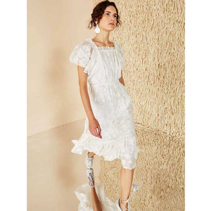 2019 Nostalgia Styles Boho Hippie  white Flocked georgette party dress - Nostalgiastyles Clothing Store Co.
