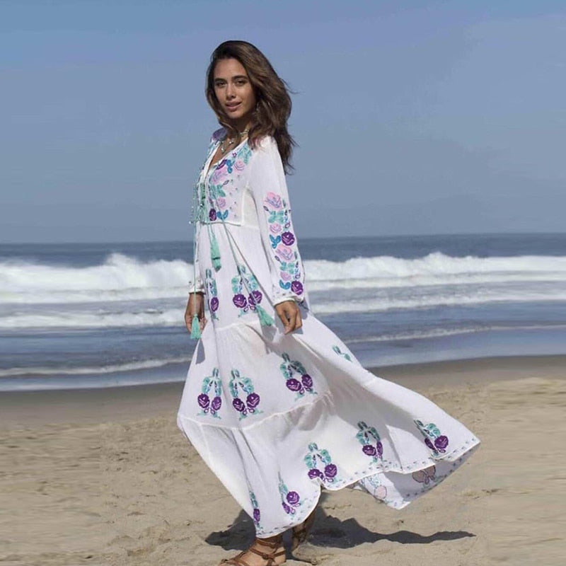 Nostalgia 2019 New Arrivals Boho Fashion White Dresses - Nostalgiastyles Clothing Store Co.